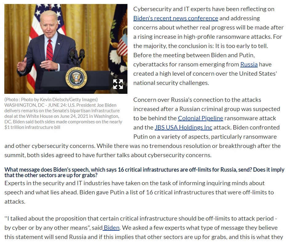 Cybersecurity and IT Experts Discuss The Cybersecurity Aspects of President Biden's Speech